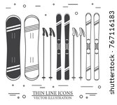set of skiing equipment... | Shutterstock .eps vector #767116183