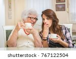 grandmother talking about her... | Shutterstock . vector #767122504