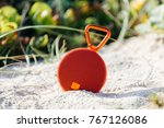 portable wireless speaker on... | Shutterstock . vector #767126086