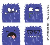 set of four vector funny crazy... | Shutterstock .eps vector #767131783