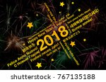 happy new year 2018 word cloud... | Shutterstock . vector #767135188