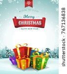 merry christmas holidays... | Shutterstock .eps vector #767136838