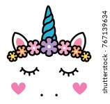 cute unicorn face with pastel... | Shutterstock .eps vector #767139634