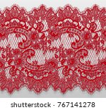 seamless vector red lace pattern | Shutterstock .eps vector #767141278