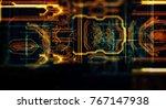 abstract technological... | Shutterstock . vector #767147938