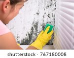 close up of woman cleaning mold ... | Shutterstock . vector #767180008