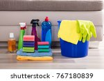 blue colored bucket with... | Shutterstock . vector #767180839