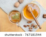 tea bag in glass cup of tea and ... | Shutterstock . vector #767181544