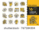 linear icon set of data science ... | Shutterstock . vector #767184304