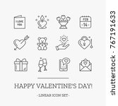 happy valentine's day outline... | Shutterstock .eps vector #767191633