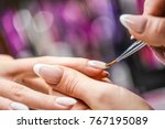 manicure nail paint with thin... | Shutterstock . vector #767195089