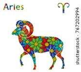 zodiac sign aries with filling...   Shutterstock .eps vector #767202994