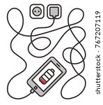 mobile phone charging from line ... | Shutterstock . vector #767207119