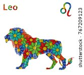 Zodiac Sign Leo With Filling O...