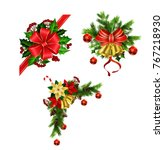 christmas decoration with bow | Shutterstock .eps vector #767218930