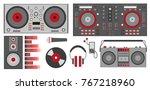 vector illustration with red dj ... | Shutterstock .eps vector #767218960
