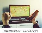 goal. man watching football... | Shutterstock . vector #767237794