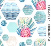 abstract summer hexagon shapes... | Shutterstock . vector #767244658
