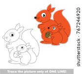 squirrel mother and her infant... | Shutterstock .eps vector #767246920