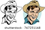 a man in a straw cowboy hat...   Shutterstock .eps vector #767251168