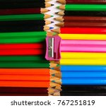 chain made by color pencils. | Shutterstock . vector #767251819