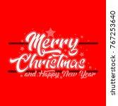retro merry christmas greeting  | Shutterstock .eps vector #767253640