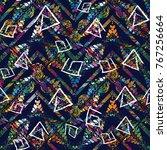tribal meander vector seamless... | Shutterstock .eps vector #767256664