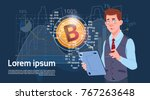 man hold digital tablet golden... | Shutterstock .eps vector #767263648