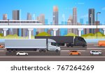 big cargo truck trailers on... | Shutterstock .eps vector #767264269