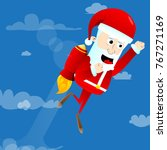 santa claus flying up with a... | Shutterstock .eps vector #767271169
