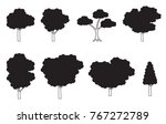 vector trees isolated black and ... | Shutterstock .eps vector #767272789