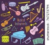 set of musical instrument hand... | Shutterstock .eps vector #767273794