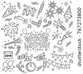 new year party doodle elements... | Shutterstock .eps vector #767273800