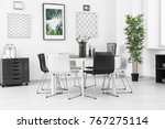 modern room interior with big... | Shutterstock . vector #767275114