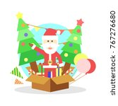 santa claus with christmas pine ... | Shutterstock .eps vector #767276680