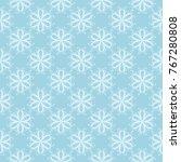 white floral ornament on blue... | Shutterstock .eps vector #767280808