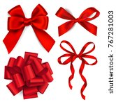 vector set of red bows | Shutterstock .eps vector #767281003