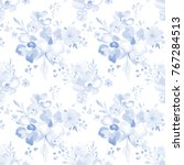 watercolor floral pattern. cute ... | Shutterstock .eps vector #767284513