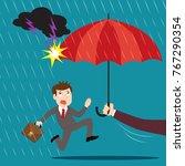 hand holding umbrella... | Shutterstock .eps vector #767290354