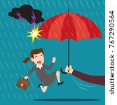 hand holding umbrella... | Shutterstock .eps vector #767290564