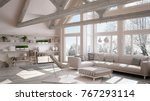 living room of luxury eco house ... | Shutterstock . vector #767293114