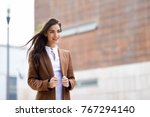 young woman with nice hair in... | Shutterstock . vector #767294140