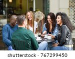 multiracial group of five... | Shutterstock . vector #767299450