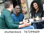 multiracial group of three... | Shutterstock . vector #767299609