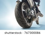 biker in black jacket and... | Shutterstock . vector #767300086