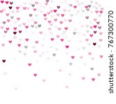 beautiful pink confetti hearts... | Shutterstock .eps vector #767300770