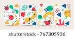 memphis style cover  social... | Shutterstock .eps vector #767305936