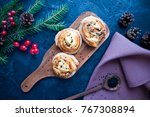 baked hearty puff pastry rolls... | Shutterstock . vector #767308894