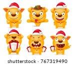 set of yellow cartoon dog... | Shutterstock .eps vector #767319490