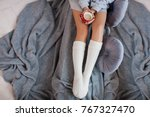 young woman relaxes at home... | Shutterstock . vector #767327470